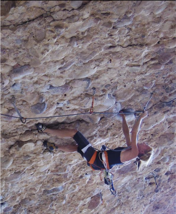 """Mindy Shulak putting in time on Millennium, (5.14a), Maple Canyon, Utah. Asked if Johnson's send encourages her, Shulak says, """"It sure does!"""" Photo Maggie Odette."""